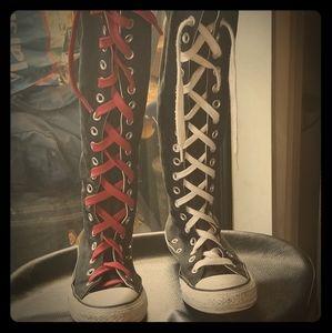 Black knee high Converse sneakers